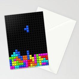 Retro Blocks Video Game Nostalgic Pattern Stationery Cards