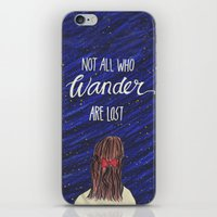 not all who wander iPhone & iPod Skins featuring WANDER by Cora Jaramillo