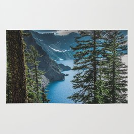 Blue Crater Lake Oregon in Summer Rug