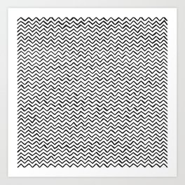 Black & White Hand Drawn ZigZag Pattern Art Print