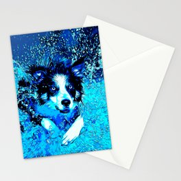 border collie jumping in water vector art crisp winter Stationery Cards