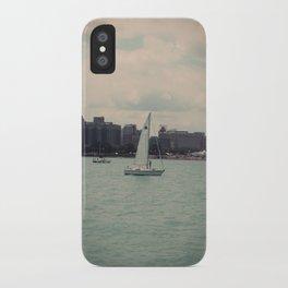 Sailboat Lake Michigan Water Color Photo iPhone Case
