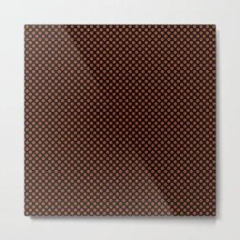 Black and Potter's Clay Polka Dots Metal Print