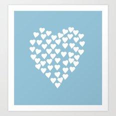 Hearts Heart White on Blue Art Print