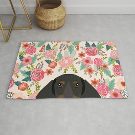 Dachshund floral dog head cute doxie must have pure breed weener dog gifts Rug