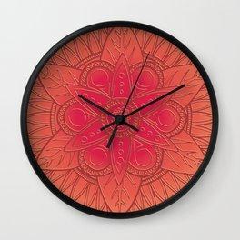 Coral Rose Mandala Wall Clock