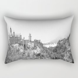 Black and White Neuschwanstein Castle in Winter Rectangular Pillow