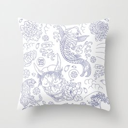 Japanese Tattoo Throw Pillow