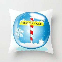 North Pole Winter Globe Throw Pillow