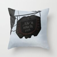 ale giorgini Throw Pillows featuring Ale 'n 'Wich by Caitlin