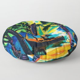Boat on the Beach at Sunrise landscape coastal painting by Hermann Max Pechstein Floor Pillow