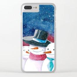 Gangster snowmen Clear iPhone Case