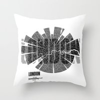 london map Throw Pillows featuring London Map by Shirt Urbanization