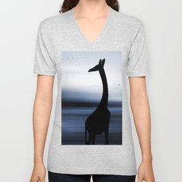 Giraffe and nature Unisex V-Neck