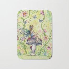 A Happy Place Flower Fairy Fantasy Art by Molly Harrison Bath Mat
