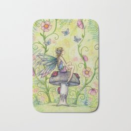 A Happy Place Flower Fairy Fantasy Art by Molly Harrison Bath Mat