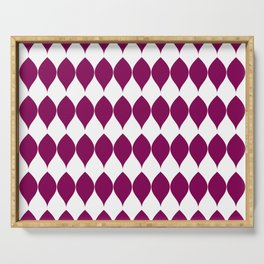Geometric Plum Red Vector Leaves on White Serving Tray