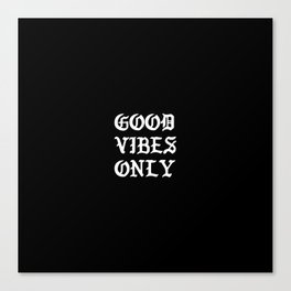 Typographic Good Vibes Only Hand Lettering Canvas Print
