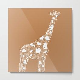 Light Tan & White Floral Giraffe Outline Metal Print