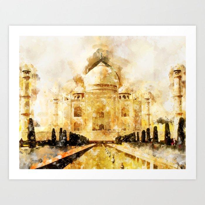 Taj Mahal Painting Art Print by creativeaxle | Society6