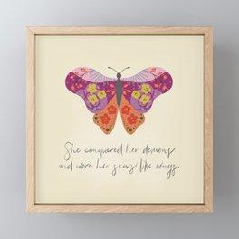 Botanical Butterfly: She conquered her demons Framed Mini Art Print
