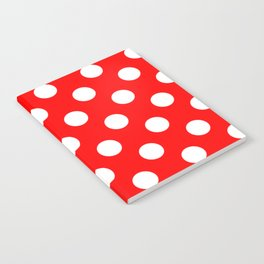 Red - White Polka Dots - Pois Pattern Notebook