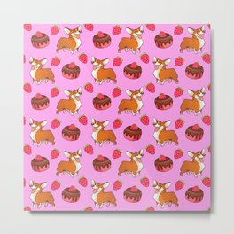 Cute happy playful funny puppy corgi dogs, sweet adorable yummy chocolate cake cartoon and red summer strawberries pastel baby pink design. Metal Print