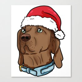 Vizsla Dog Christmas Hat Present Puppy Canvas Print
