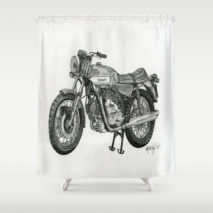 Stippled Motorbike  Shower Curtain
