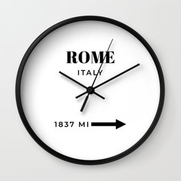 Rome Art Italy Poster Rome Wall Art Travel Art Fashion Poster Black And White Modern Home Decor Wall Clock