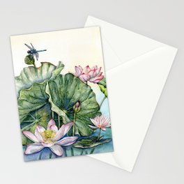Japanese Water Lilies and Lotus Flowers Stationery Cards