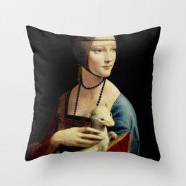 """Leonardo Da Vinci """"Portrait of Cecilia Gallerani (Lady with the Ermine)"""" Throw Pillow"""