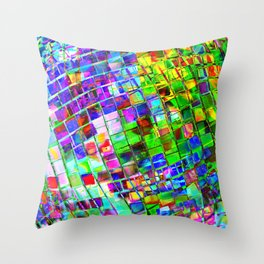 Psychedelic Planet Disco Ball Throw Pillow