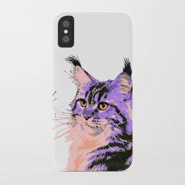 Maine Coon Cat Purple/Peach/Black iPhone Case