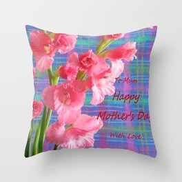Pink Gladiolus - Mother's Day Throw Pillow