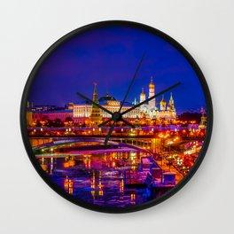 Panoramic View Of Moscow Kremlin Wall Clock