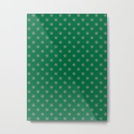 Cotton Candy Pink on Cadmium Green Snowflakes Metal Print