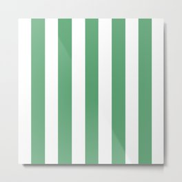 Forest green (Crayola) - solid color - white vertical lines pattern Metal Print