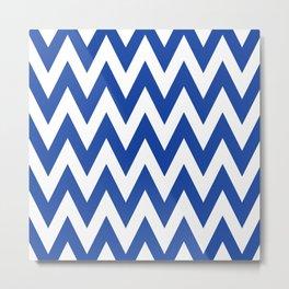 Team Spirit Chevron Royal Blue and White Metal Print