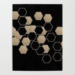 contemporary preppy scandinavian minimalist Black and gold hexagon Poster