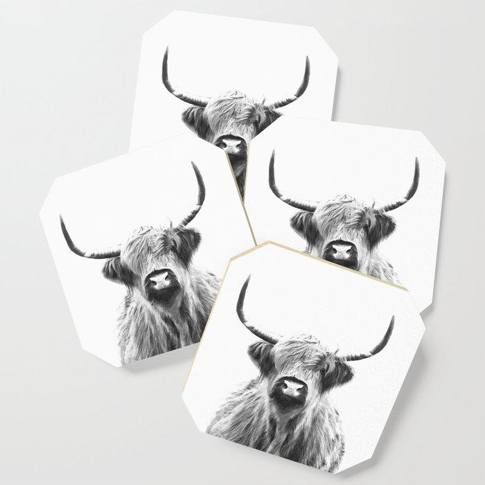 Black and White Highland Cow Portrait Coaster