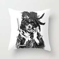 city Throw Pillows featuring Chicana by Rudy Faber