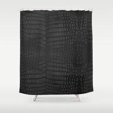 Black Crocodile Leather Print Shower Curtain