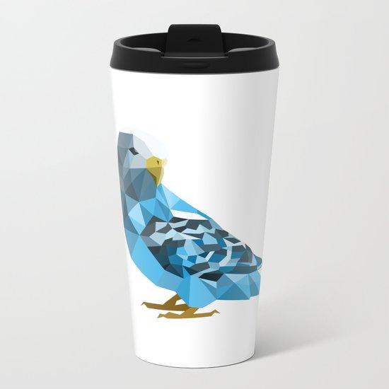 Geometric blue parakeet Metal Travel Mug