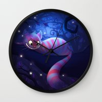 cheshire Wall Clocks featuring Cheshire Cat by Chelsea Kenna