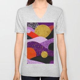 Terrazzo galaxy purple orange gold Unisex V-Neck