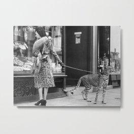 Woman with Cheetah, Phyllis Gordon, with her pet Kenyan cheetah, Paris, France black and white photo Metal Print