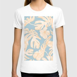 Island Vacation Hibiscus Palm Coral Sky Blue T-shirt