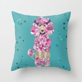 Fun Paint Splatter Poodle on Teal Throw Pillow