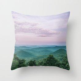 Pink Sunset over the Blue Ridge Mountains Throw Pillow